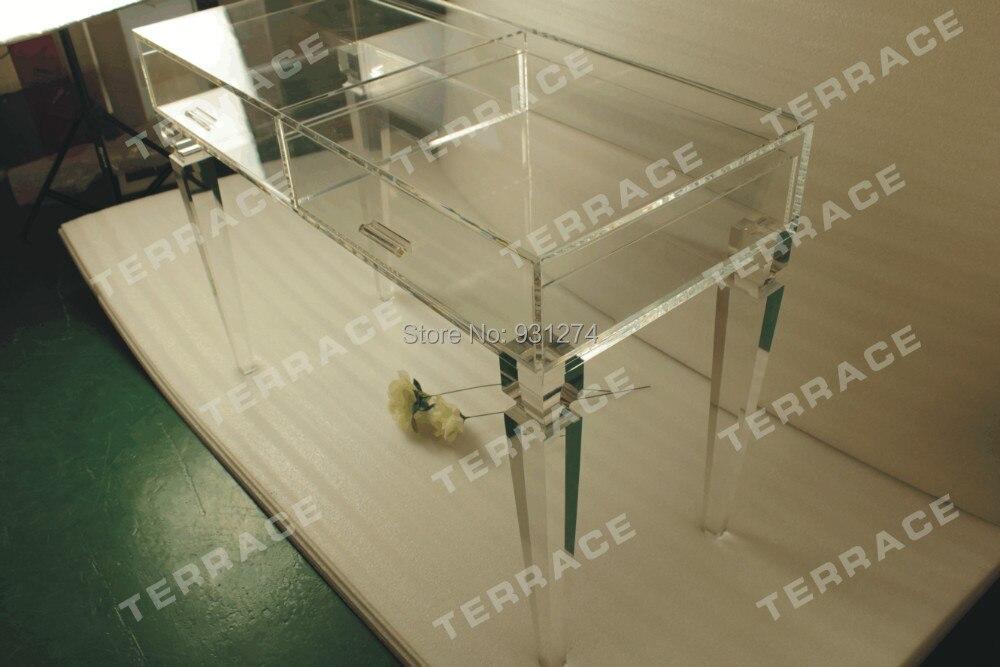 Bureau de tiroir de vanité acrylique clair, Table de Console claire de Lucite