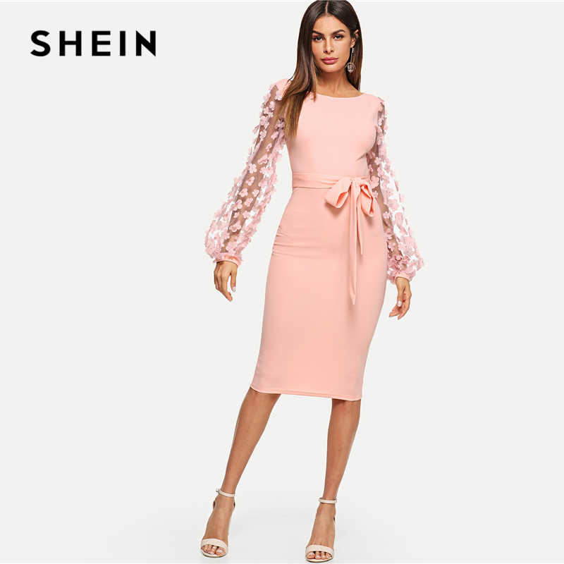 7cccd41a3e ... SHEIN Pink Elegant Party Flower Applique Contrast Mesh Sleeve Form  Fitting Belted Solid Dress 2018 Autumn ...