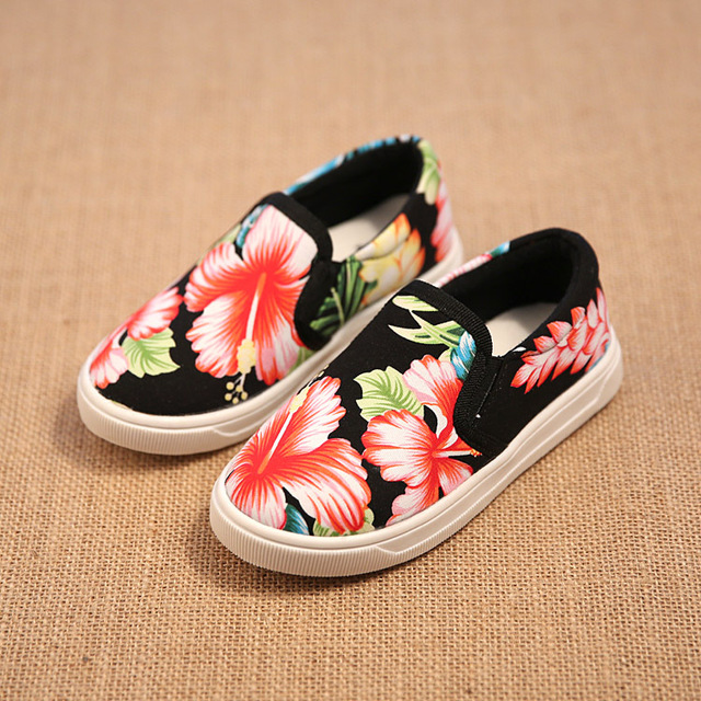 2a8924d89 2015 Autumn New Children Canvas Shoes Girls Floral Printed Casual Sport  Shoes Baby Kids Slip On Canvas Sneakers Loafers 21~30
