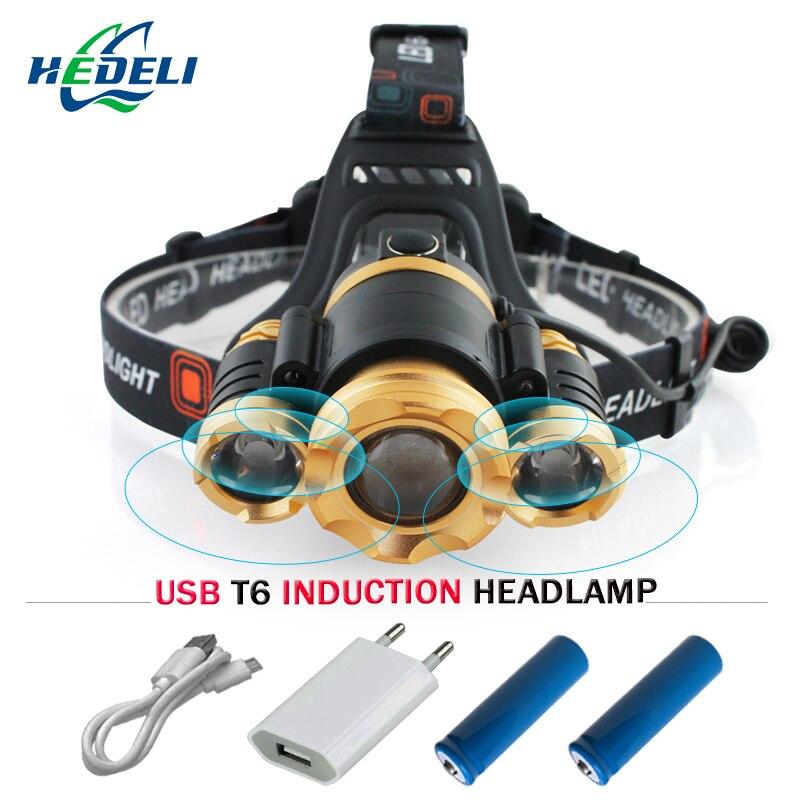 Lnduction Headlight IR Sensor Micro USB Headlamp Rechargeable Lantern CREE XM L T6 Head lamp Flashlight Head Torch 2017 new