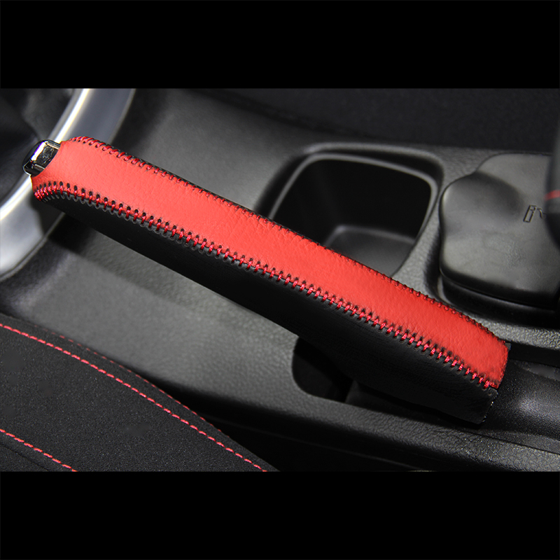 Top Layer Leather Case For Handbrake Cover For Suzuki S-cross Hand Brake Cover Top Genuine Leather Cover Handbrake Auto