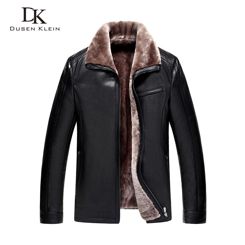 Marca giacca di pelle di inverno degli uomini di Lusso di lana insdie Genuino cappotti di pelle di pecora Nero/Marrone giacca Designer 13Q1358