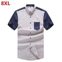 Plus size men's big size shirt summer new half sleeves plus fertilizer to increase casual short sleeved shirt 8XL 7XL 6XL