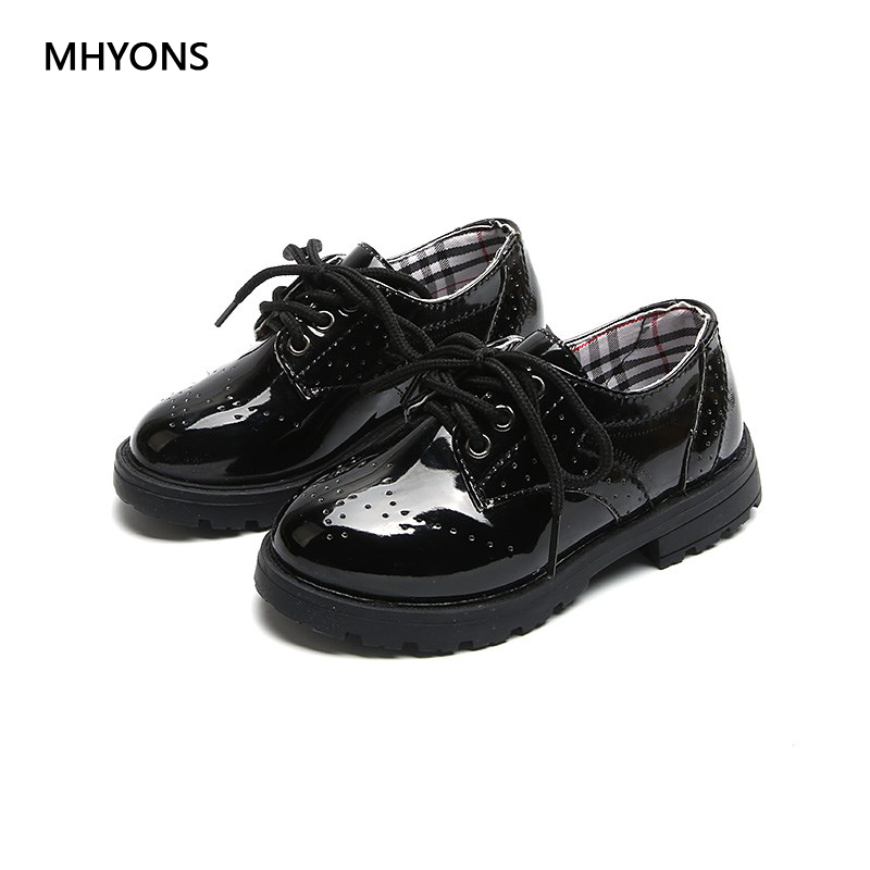 MHYONS 2018 Spring and autumn PU student Performance shoes Lace-Up leather shoes Boys Girls Unisex Children Baby Size 27-36