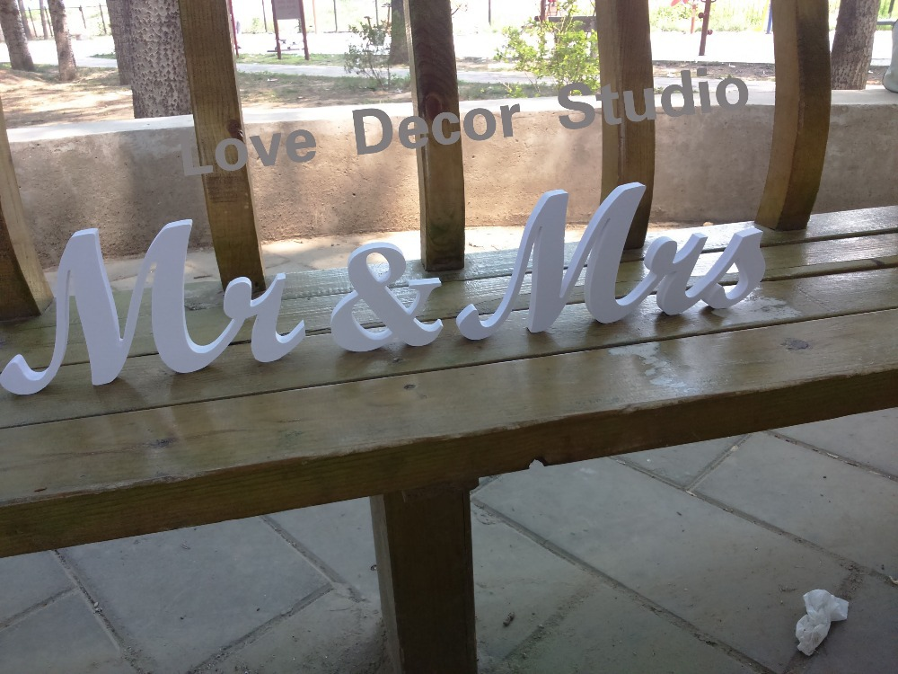 Mr And Mrs Large Wooden Letters: Mr & Mrs Letters Wedding Table Decoration Freestanding