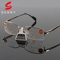 Excellen Quality Bifocal Reading Glasses Men Progressive Multifocal Lens Eyeglasses Unisex Half Casual Presbyopic Glasses 528