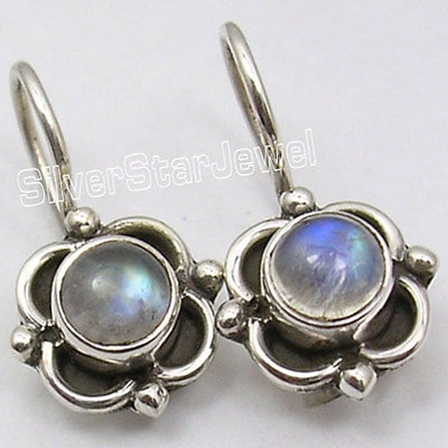 Silver Natural Rainbow Moonstone Handcrafted Small Earrings 18 Cm