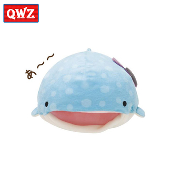 Kuscheltiere QWZ 28/44CM Kawaii Blue Whale Plush Pillow Marine Animal Toy Office Nap Pillow Stuffed Animals Children Holiday Gifts