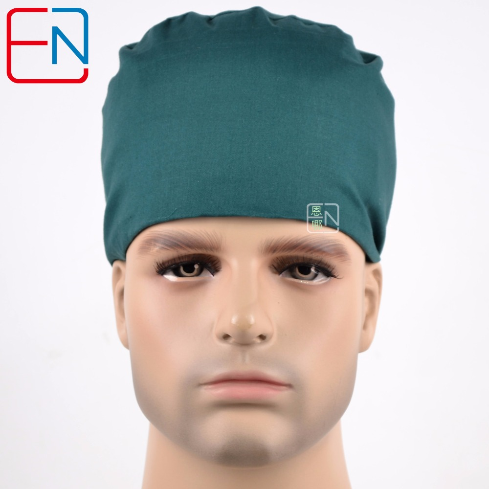 Hennar Surgical Caps For Doctors And Nurses Caps,100% Cotton Scrub Caps In Dark Green