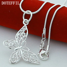 925 Silver Color Butterfly Necklaces Pendants For Women Elegant Butterfly Short Necklace Sterling Silver Jewelry(China)
