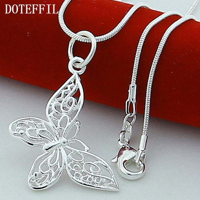 925 Sterling Silver Butterfly Necklaces Pendants For Women Elegant Butterfly Short Necklace Sterling Silver Jewelry