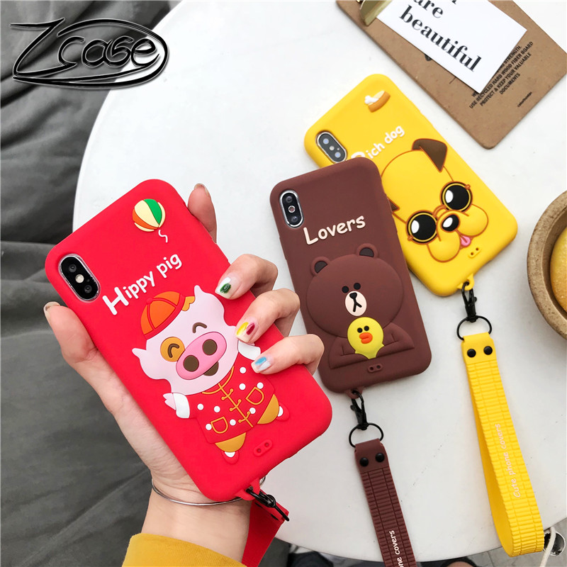 Cartoon cute Wrist cub Lanyard red hippy rich dog Pig Phone Case for iPhone X XS MAX XR 8 7 6s Plus 6 Silicone Holder Cover
