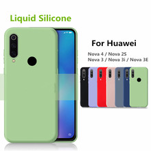 For Huawei Nova 4 Case nova3i P Smart Plus Liquid Soft Silicon case 360 Full protective Cover 3i 3 2S 3E 2019