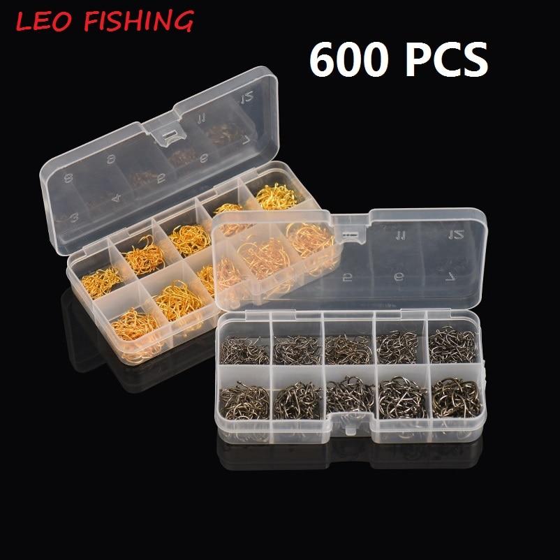 Wholesale 600 Pcs/Box Fishhooks Carp Fishing Hooks Fishing Accessory High Carbon Steel Fishing Hooks Black And Gold 3#-12# LEO