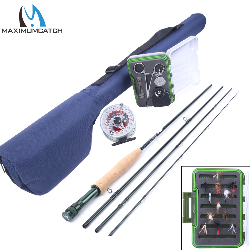 Maximumcatch 9FT 5WT Fly Rod &Fly Reel Combo Fly Fishing Rod Line Backing Flies Box Loop Tapered Leader Fishing Outfit maximumcatch 5wt 9ft fly fishing outfit fly rod fly fishing combo
