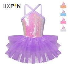 IIXPIN/детское балетное платье-пачка для девочек Одежда для танцев балетное платье-пачка без рукавов с лямкой на шее, с блестками, для балета, гимнастики, трико