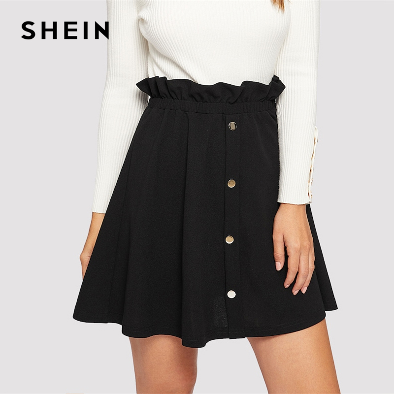 SHEIN Black Paperbag Waist Ruffle Button Front Shift Skirt Casual High Waist A Line Women Skirts 2019 Summer Slim Skirt