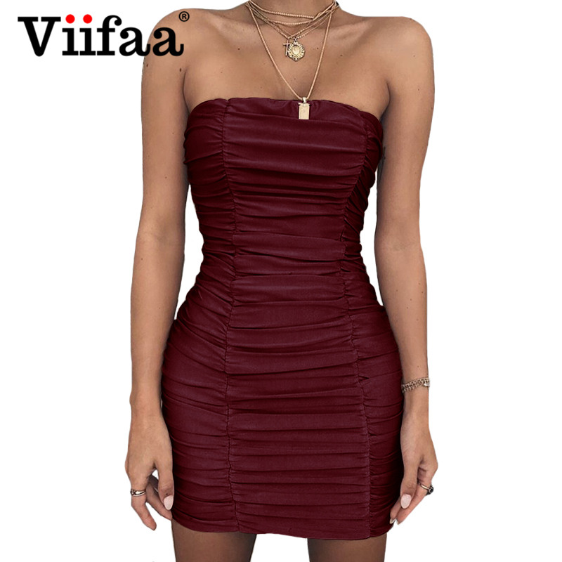 67d127c1c3af Viifaa Strapless Bodycon Women Short Mini Sexy Dress Off Shoulder Ruched Dresses  2018 Summer Burgundy Party
