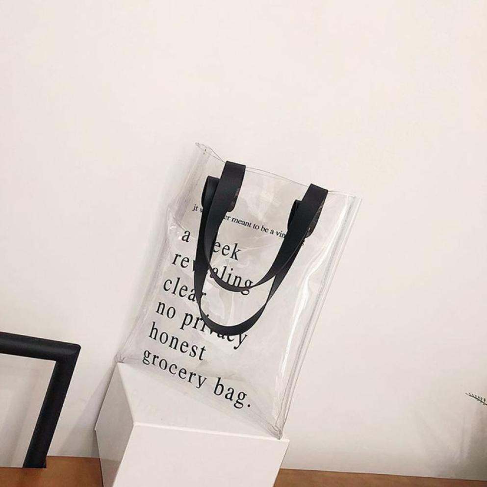 New Arrival Womens Fashion Transparent Letter Shoulder Bag High Quality PVC Handbag+Sequins Zipper Clutch Wallet bolsos mujer S