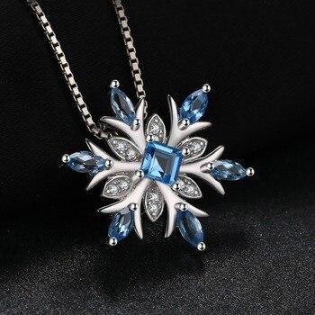 Snowflake Natural Topaz Pendant  Sterling Silver Gemstones Statement Necklace  1
