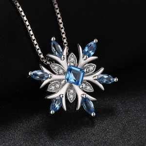 Image 2 - JPalace Snowflake Natural Topaz Pendant Necklace 925 Sterling Silver Gemstones Choker Statement Necklace Women No Chain