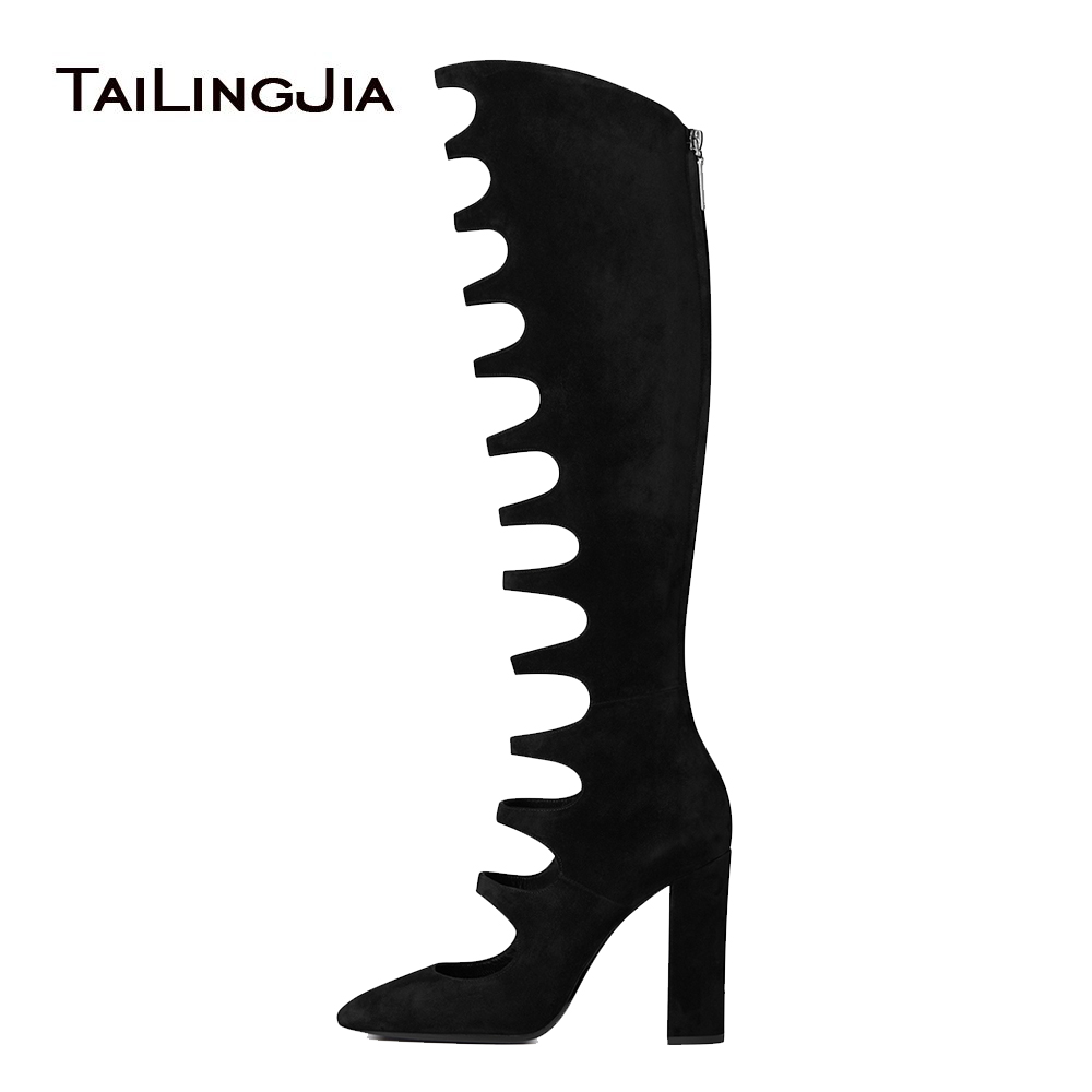 Black Faux Suede Round Toe High Heel Cutout Knee High Boots Sexy Chunky Heel Sandal Boots with Zipper Ladies Summer Shoes 2018 black suede laser cutout midi skirt