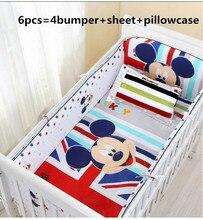 Promotion! 6/7PCS Cartoon baby crib bed linen cotton baby bedding set baby cot jogo de cama girls bedclothes,120*60/120*70cm