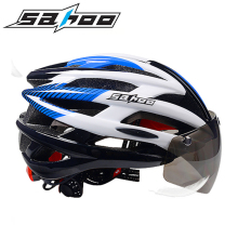 SAHOO New Bicycle Cycling Helmet Integrally-molded Glasses Goggle tt helmet With Magnetic UV Visor Road/MTB Bike Helmet