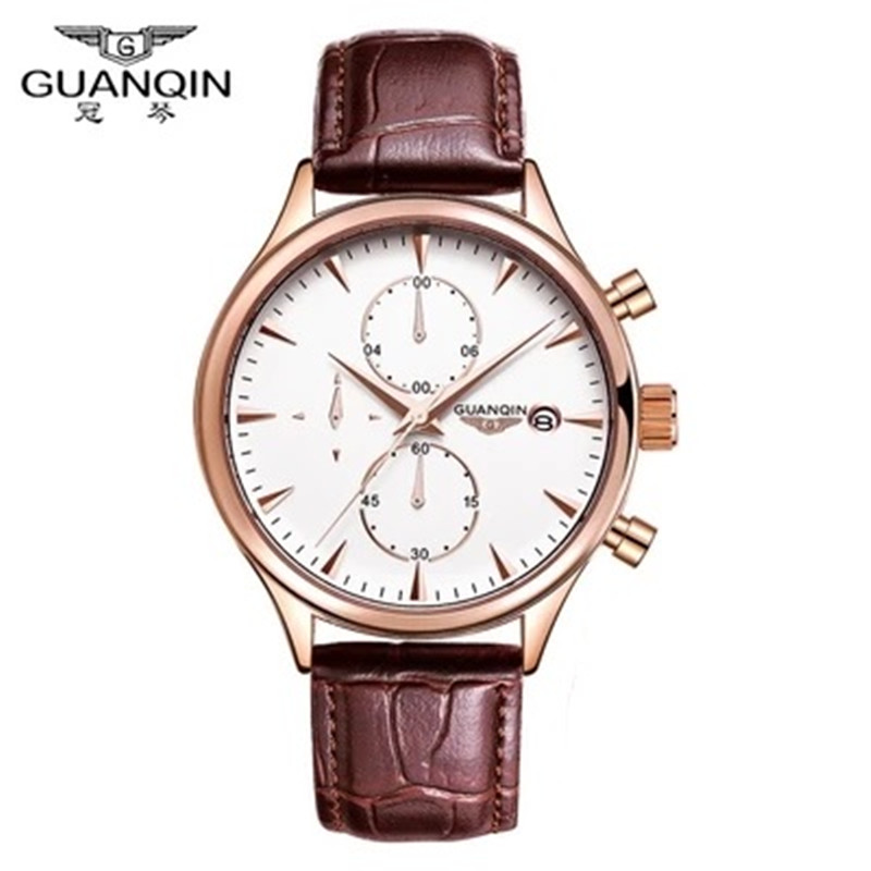 ФОТО Fashion Casual Military Watches Original GUANQIN Watch Men Luxury Brand Quartz Watch Men Dress Leather Male Watches Clock