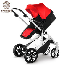 Spirit Kids Large space high landscape stroller Can Sit & Lie, 4 Big Pneumatic Wheels, Two-way Available Folding Pushchair