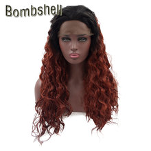 Bombshell Loose Curly Synthetic Lace Front Wig Black Roots Ombre Orange Burgund Grey Heat Resistant Fiber For Black Women Stock