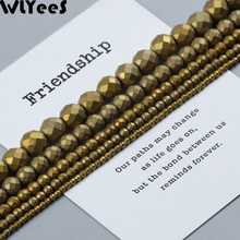 WLYeeS Matte Gold Plating Hematite beads 4 6 8 10mm faceted Round Spacer Loose for Jewelry Bracelet Making DIY Accessories