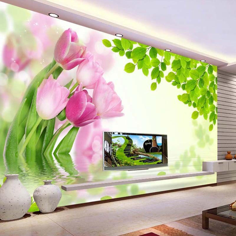 Custom Mural Wall Paper Fashion Pink Tulip Green Leaves Modern ...