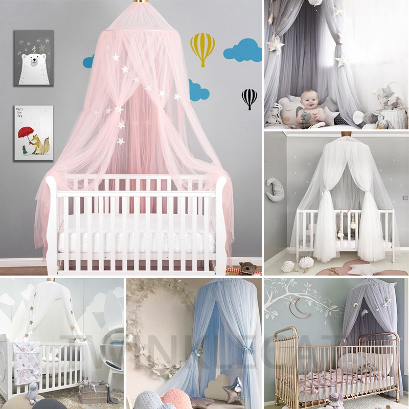 Baby Crib Netting Princess Dome Bed Canopy Children Bedding Round Lace Mosquito Net For Baby Sleeping Teepee Tipi Decoration Kid