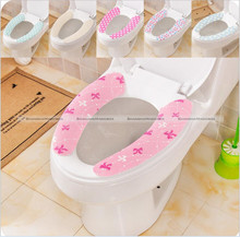 2 PCS Washable Bathroom Soft Cloth Closestool Stickers Health Reusable Warm Toilet Seat Cover SMB