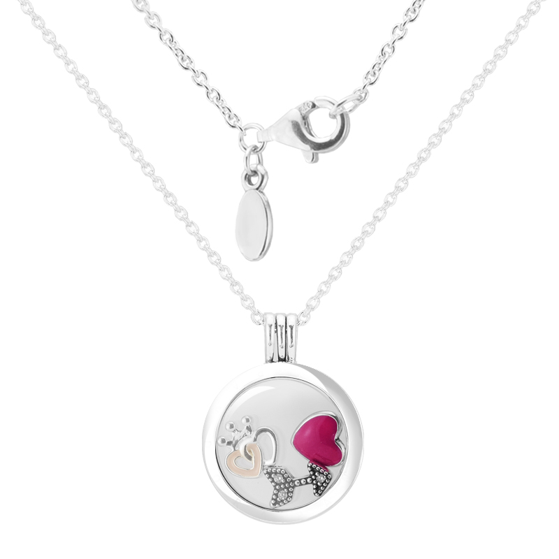 Valentine's Day crowned heart Petites Floating Locket Medium Crystal Glass Necklace 925-Silver-Jewelry Woman Gift Wholesale