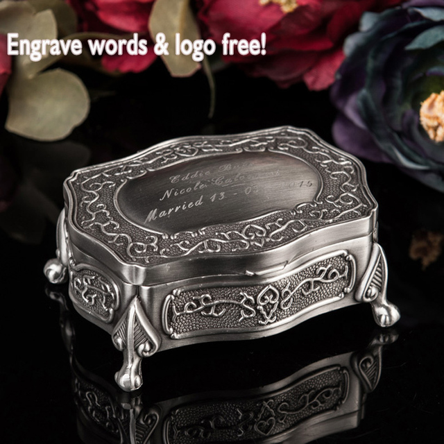 Classic Personalized Vintage metal jewelry case/ jewelry box /showing display,free engraveing,wedding gift for friend Bridesmaid