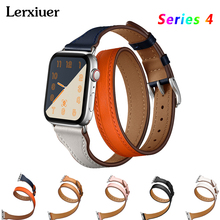 цена на Genuine Leather Double Tour strap For Apple watch band Series 4 3 2 1 iWatch 44mm 40mm 42mm 38mm watchband wrist bracelet belt