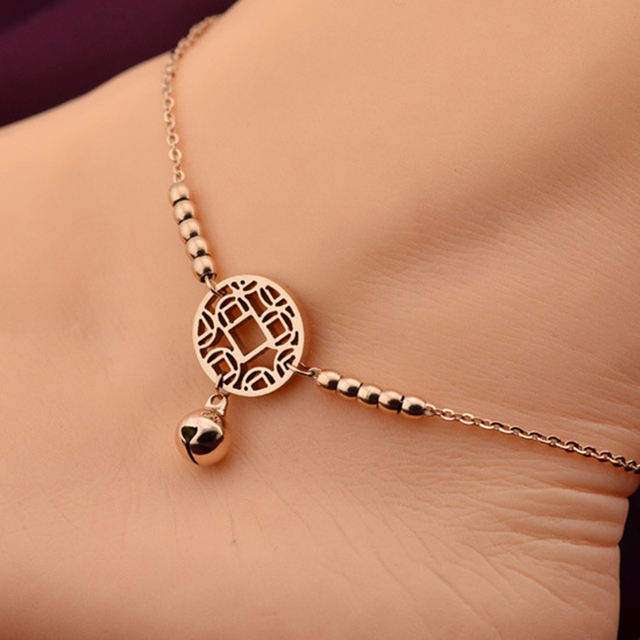 Fashion Foot Chain Jewelry Little Bell Anklet Bracelet Rose Gold Titanium Steel Women Girl Lover Barefoot Anklet