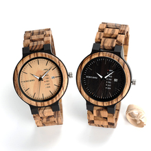 BOBO BIRD V-O26 Zebra Wood Dress Wrist Watches Men High Quality Quartz Watch Date Display with Wood Band