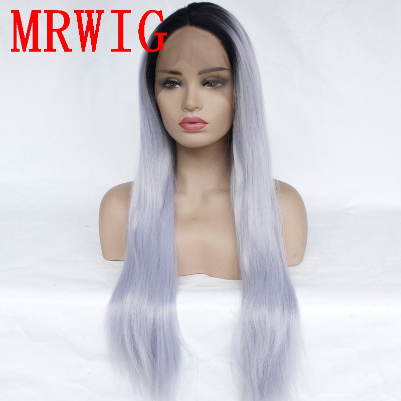MRWIG Live  picture 150%Denstiy silky straight ombre blue-grey synthetic front lace wig for african americans