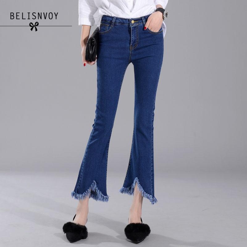 Elasticity Cotton Skinny Jeans Women 2017 Fashion Flare Pants Denim Irregular Tassel High Waist Pockets Blue Ladies Denim Pants