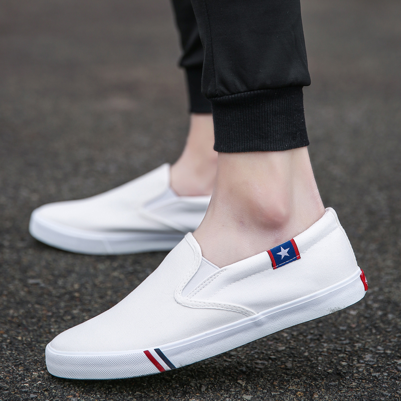 New Loafers Men Casual Shoes Sneakers star Summer Canvas Shoes White Anti-Slip Chaussure Homme Comfortable Man Flats Size 35-47