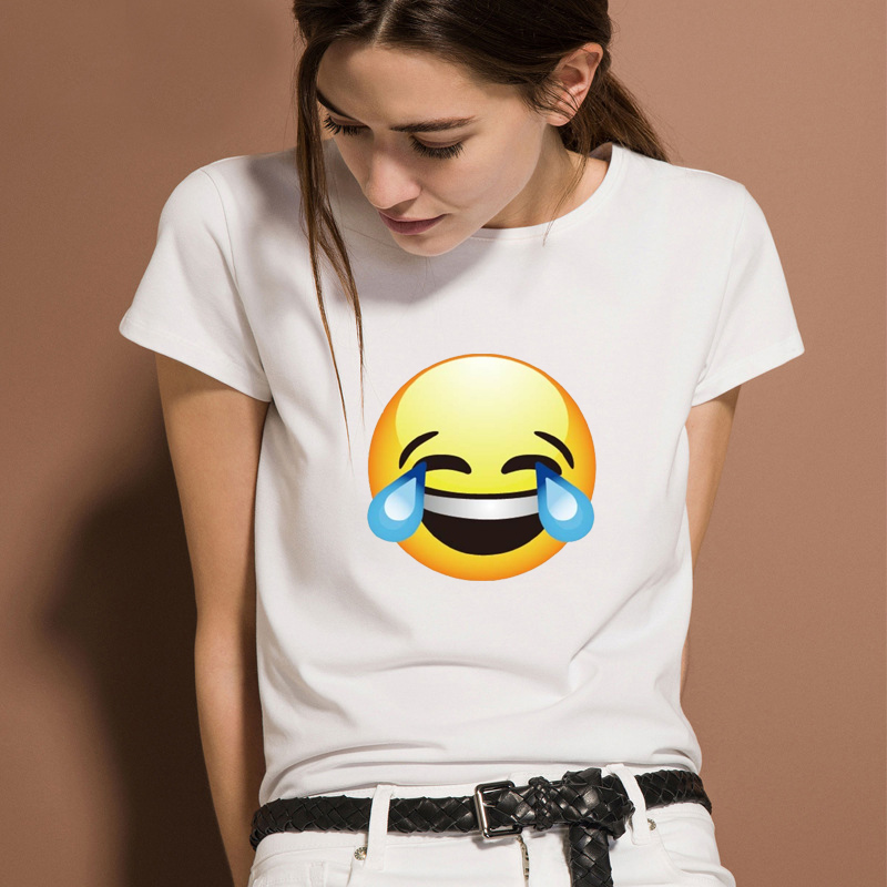 Summer Tops Tees Funny Letter Print Casual T-shirts For Women O-neck With Cute Expression Emoji Cartoon Face Female tshirt