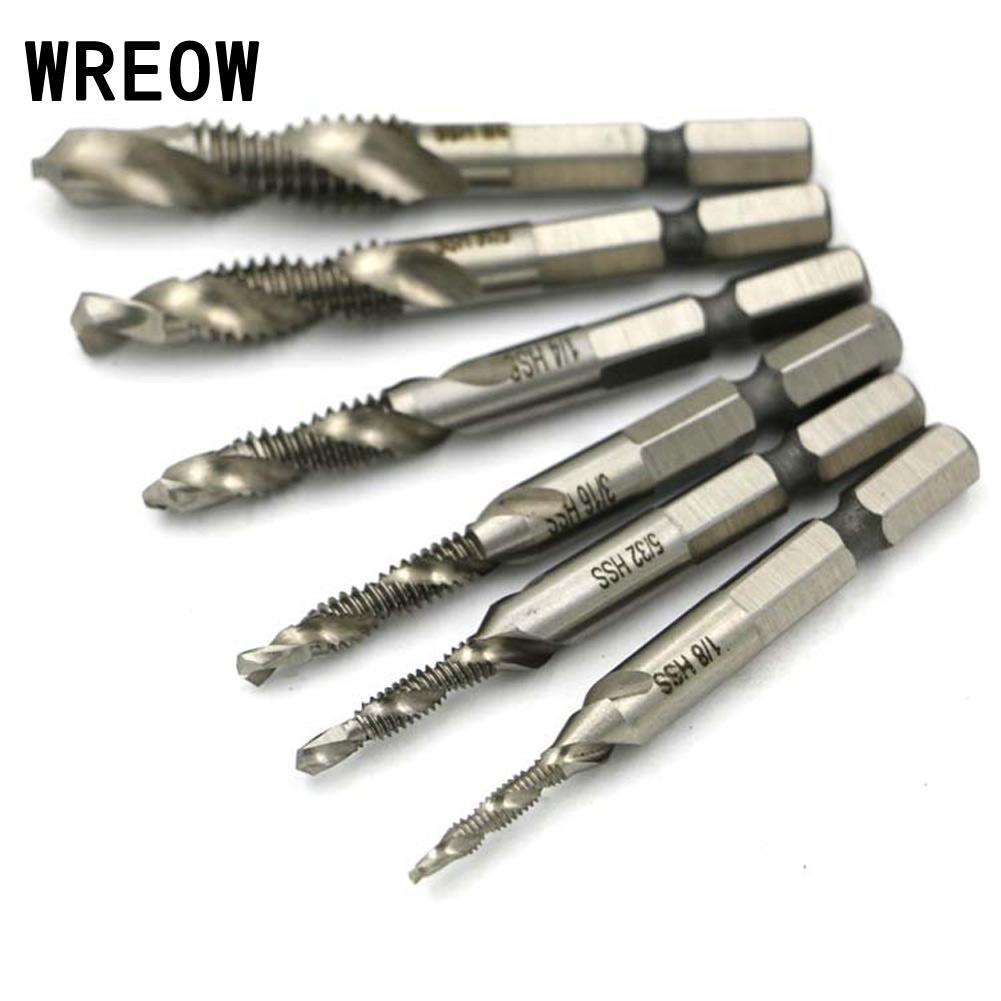6PCS HSS4341 Hex Shank Spiral Screw Thread Taps Drill Bits Set Hex Tap Drill Bits Metric/Imperial Spiral Fluted Machine Screw