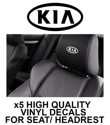 5pcs KIA LOGO HEADREST CAR SEAT DECALS Vinyl <font><b>Stickers</b></font> - Graphics X5 10.2x5.1cm image