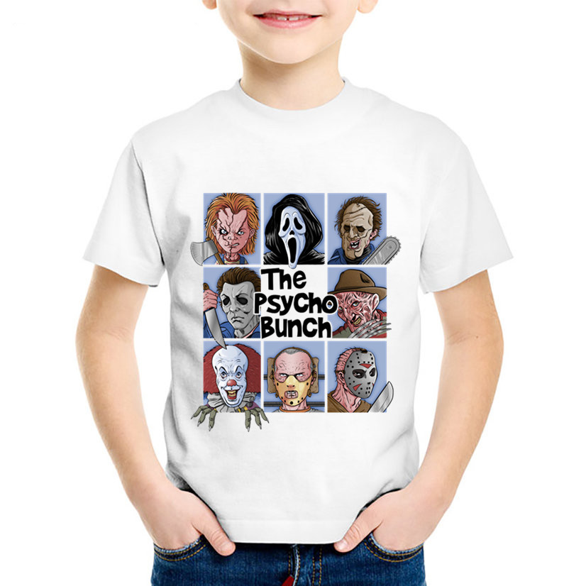 Fashion Print The Psycho/Creay Bunch Children T-shirts Kids Pennywise Summer T shirt Boys/Girls Funny Tops Baby Clothing,HKP5504Fashion Print The Psycho/Creay Bunch Children T-shirts Kids Pennywise Summer T shirt Boys/Girls Funny Tops Baby Clothing,HKP5504