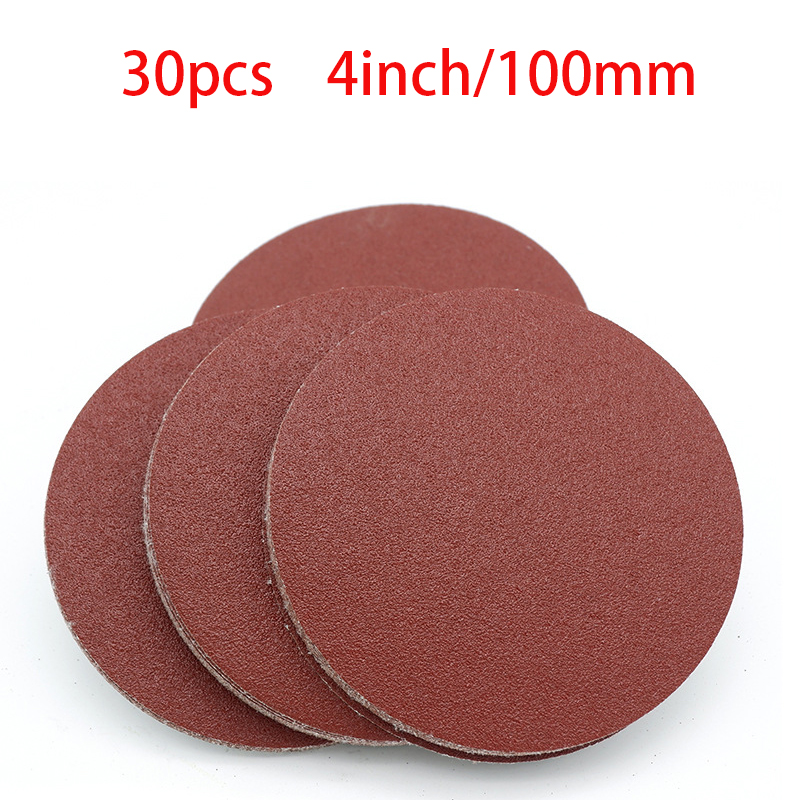 High Quality 30pcs 4 Inch 100mm Round Sandpaper Disk Sand Sheets Grit 40-2000 Hook And Loop Sanding Disc For Sander Grits NEW