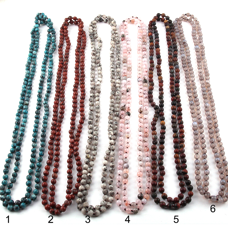 Fashion Bohemian Jewelry 150cm 6mm Semi Precious Stones Beads Long Knotted Necklaces