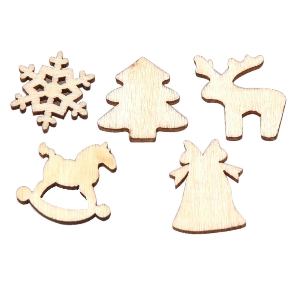150pcs Mixed Wood Log Slices Christmas Discs Christmas Tree Fawn ...